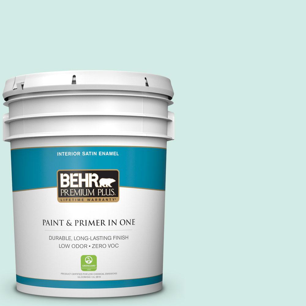 BEHR Premium Plus 5-gal. #490C-2 Adriatic Mist Zero VOC Satin Enamel Interior Paint