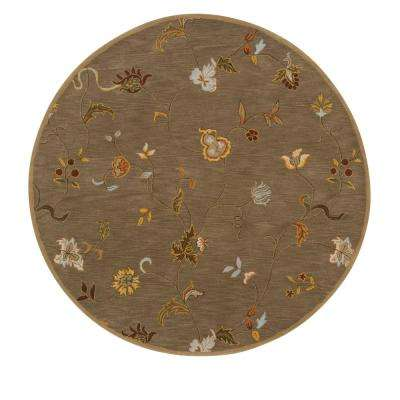 Lenore Gray Brown 8 ft. x 8 ft. Round Area Rug