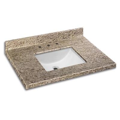 37 in. W x 22 in. D Granite Vanity Top in Giallo Ornamental with White Trough Basin