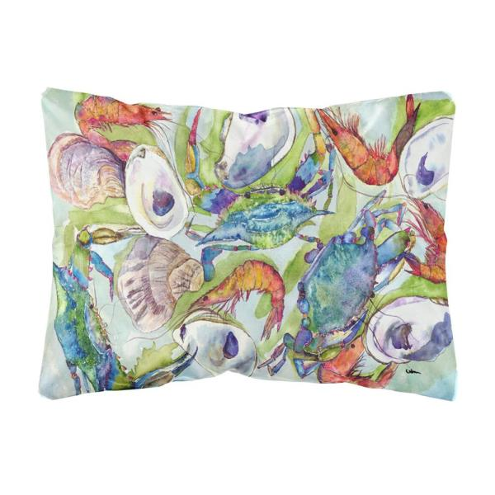 12 in. x 16 in. Multi Color Lumbar Outdoor Throw Pillow Crab