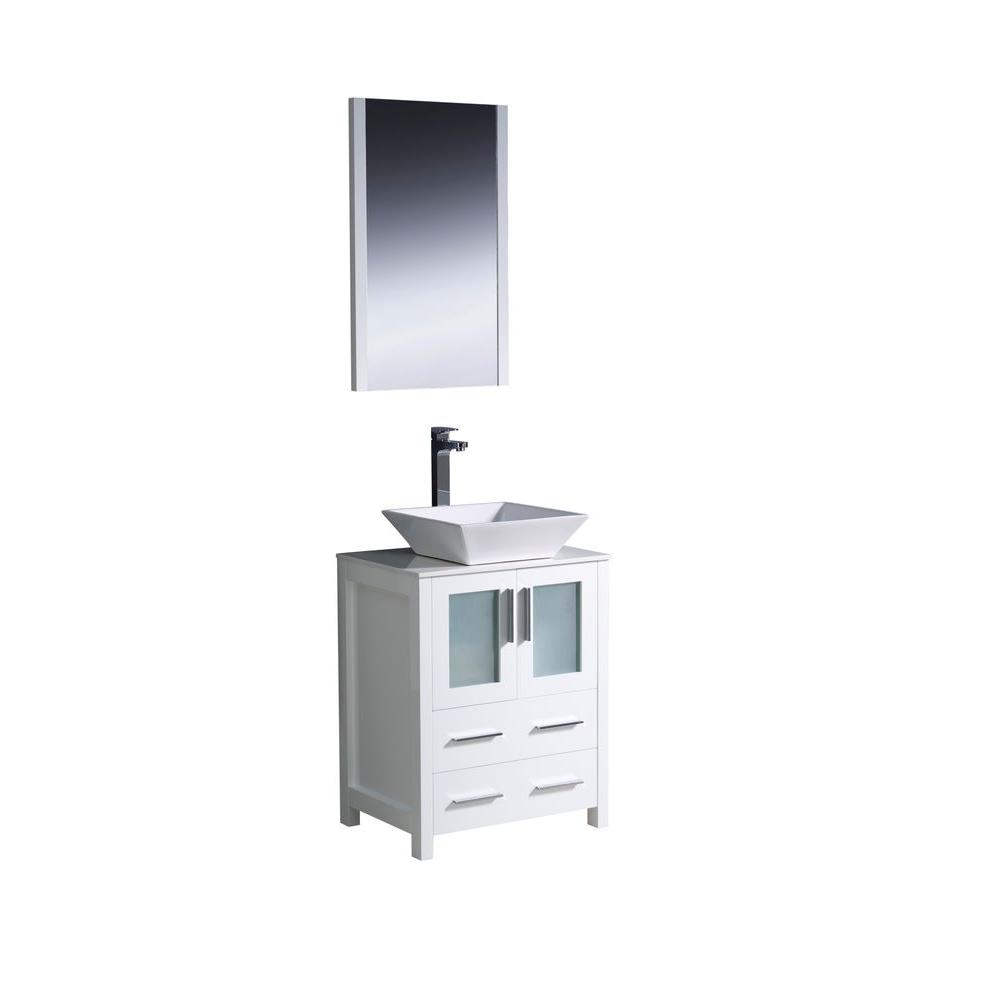 Torino 24 in. Vanity in White with Glass Stone Vanity Top