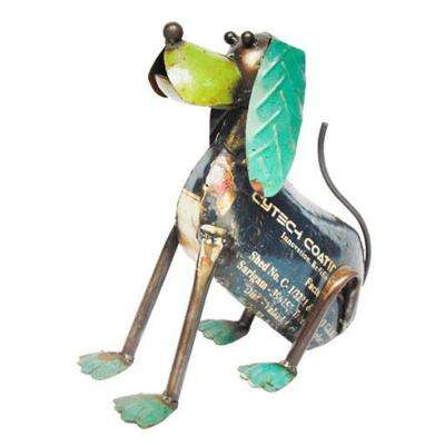 11.75 in. Handcrafted Recycled Iron I Am A Good Doggy Garden Statue
