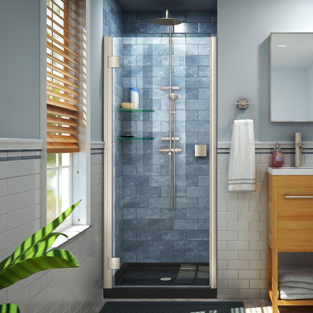 Lumen 42 in. x 72 in. Semi-Frameless Hinged Shower Door in Brushed Nickel Finish with 42 in. x 34 in. Base in Black
