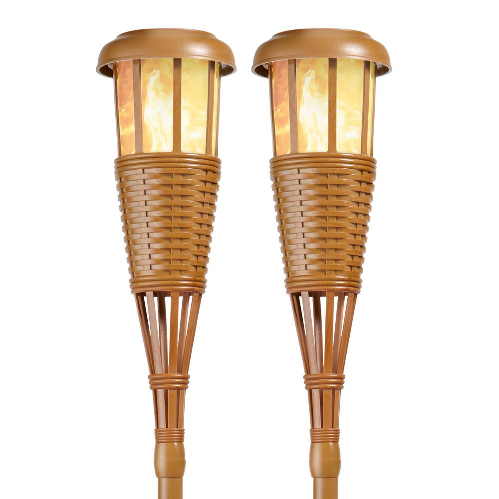 Newhouse Lighting Bamboo Solar Island Torches With Flickering Flame Effect 2 Pack