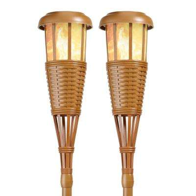 Bamboo Solar Island Torches with Flickering Flame Effect (2-Pack)