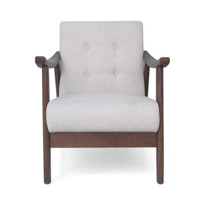 Chabani Mid-Century Modern Tufted Beige Fabric Accent Chair