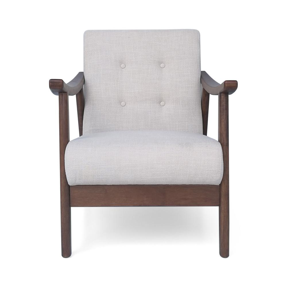 Noble house chabani mid century modern tufted beige fabric accent chair 305850 the home depot