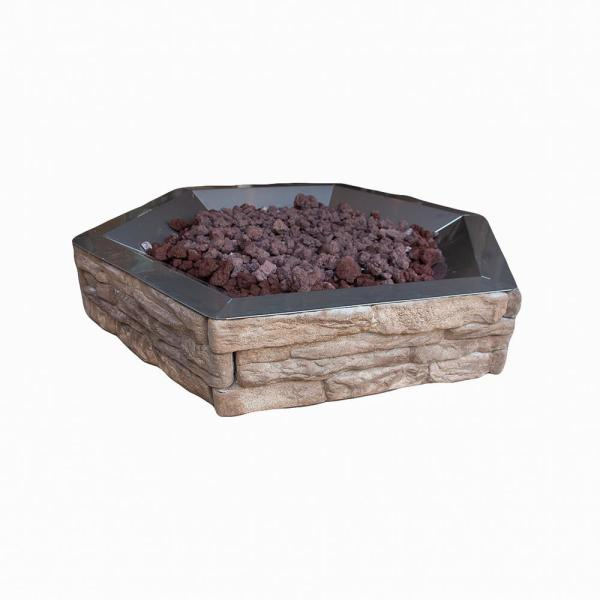 Ledge Stone 42 in. x 8 in. Hexagon Concrete Base with Stainless Steel Bowl Propane Natural Gas Fire Pit Kit in Tan Brown