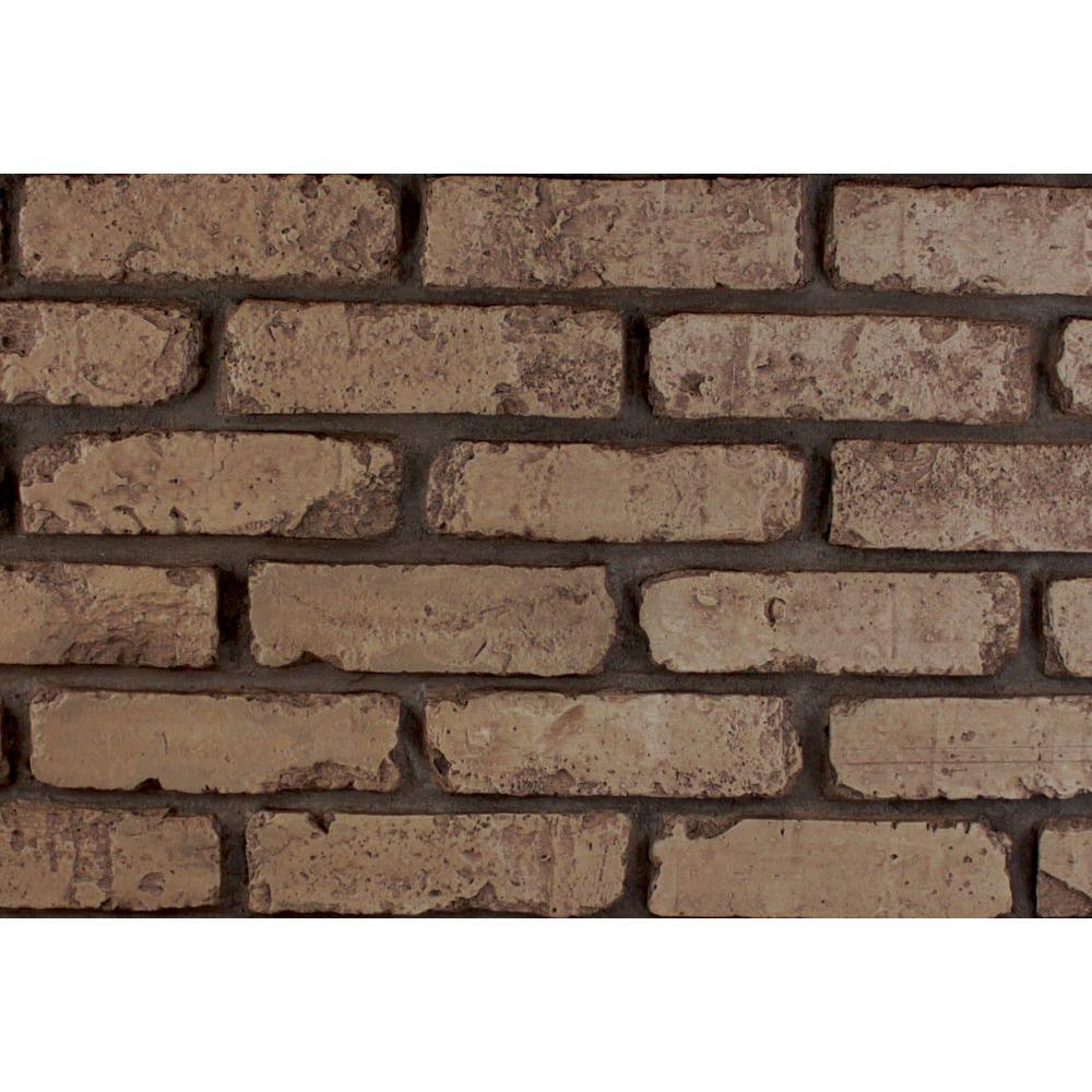 Brownstone 8 in. x 8 in. x 3/4 in. Faux Reclaimed Brick Stone Sample