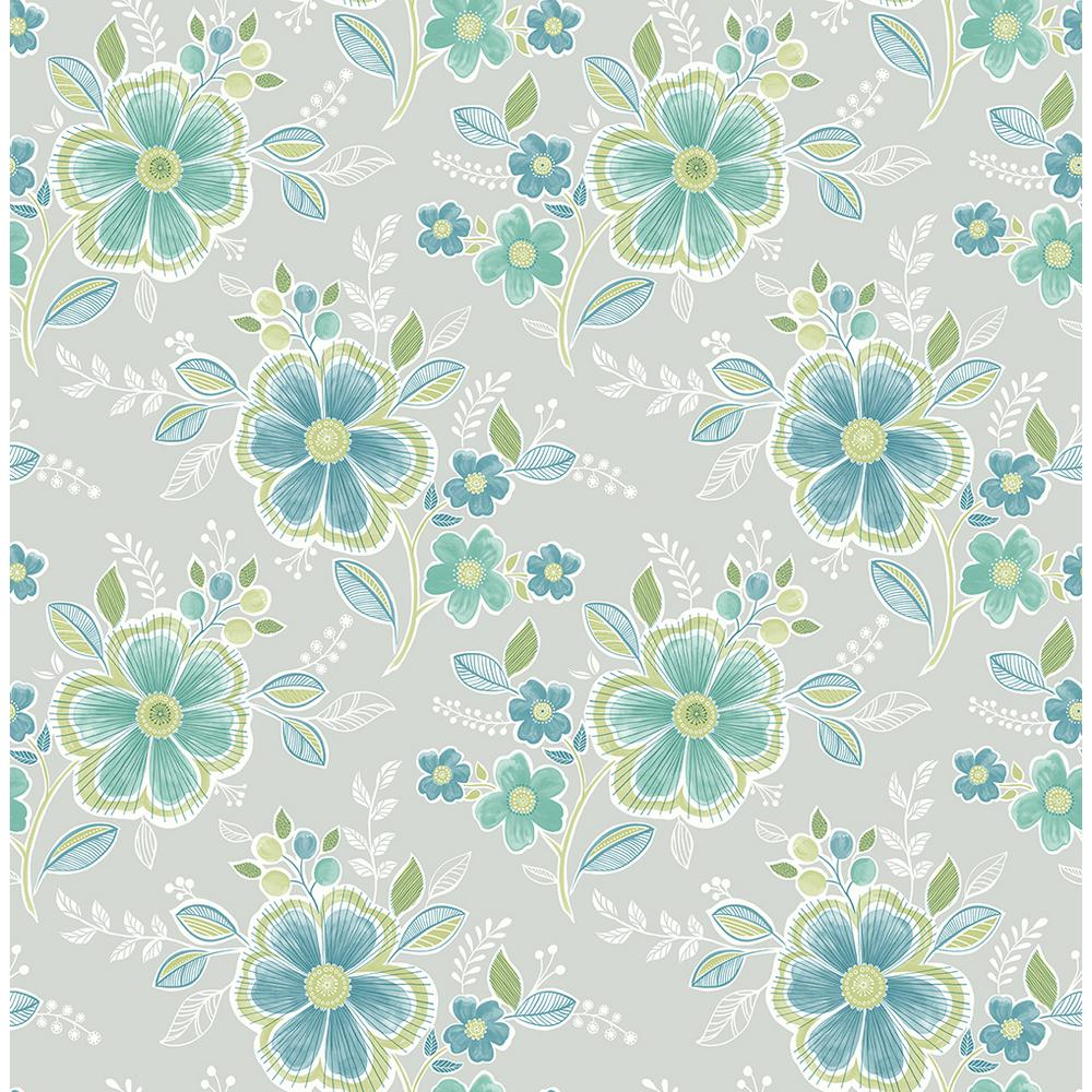 Brewster Chloe Green Floral Wallpaper 2704 22200 The Home Depot