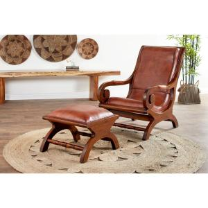 Awesome Litton Lane Brown Teak Wood And Leather Chair And Ottoman Gmtry Best Dining Table And Chair Ideas Images Gmtryco