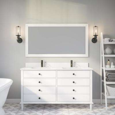 Flynn 60 in. W x 22 in. D Bath Vanity in White ENGRD Stone Vanity Top in White with White Basin Power Bar and Organizer