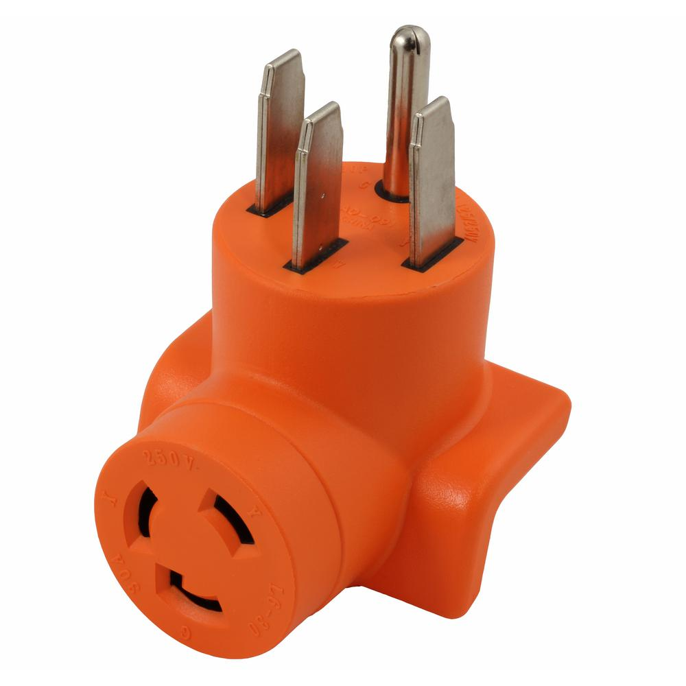 Locking Adapter Generator/ RV/ Range 14-50P Plug to L6-30R 3-Prong 30