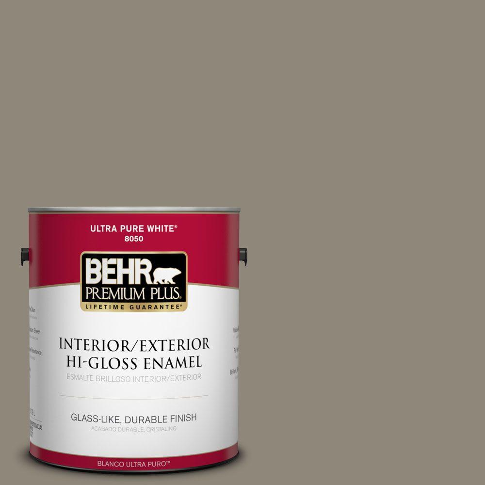 1 gal. #T16-08 Fifth Olive-Nue Interior/Exterior Hi-Gloss Enamel Paint