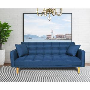 Harper Bright Designs Blue Linen Fabric Tufted Sleeper