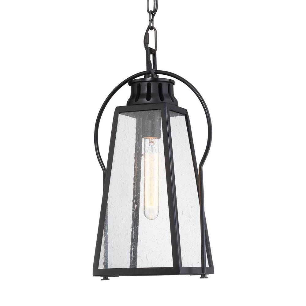 Halder Bridge 1-Light Sand Black Outdoor Pendant Light with Seeded Glass