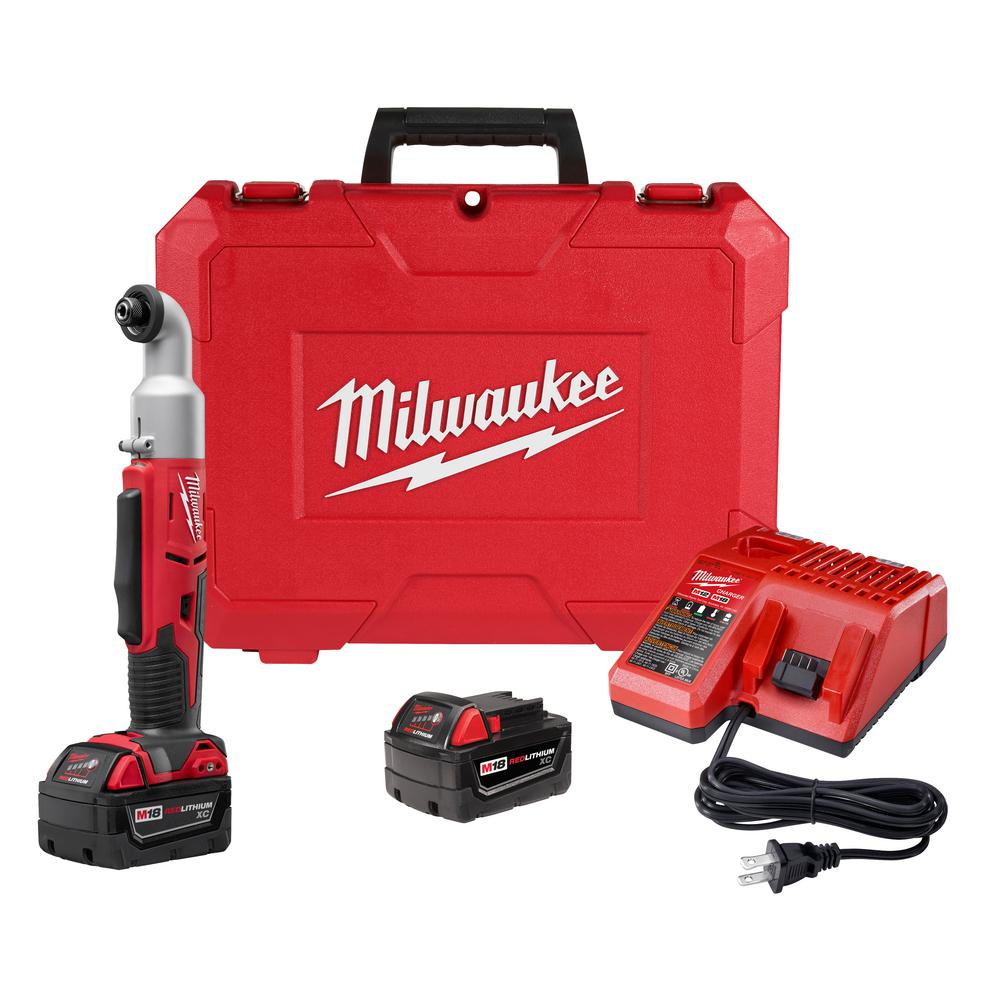 Milwaukee M18 18-Volt Lithium-Ion Cordless 1/4 in  Hex 2-Speed Right Angle  Impact Driver W/(2) 3 0Ah Batteries, Charger, Hard Case