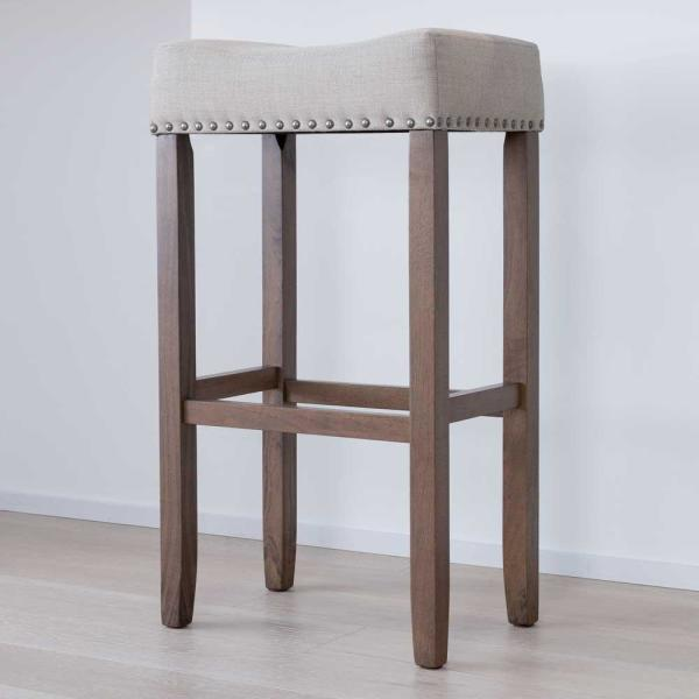 Hylie 29 in. Beige Fabric Cushion Light Brown Finish Nailhead Wood Pub-Height Counter Bar Stool