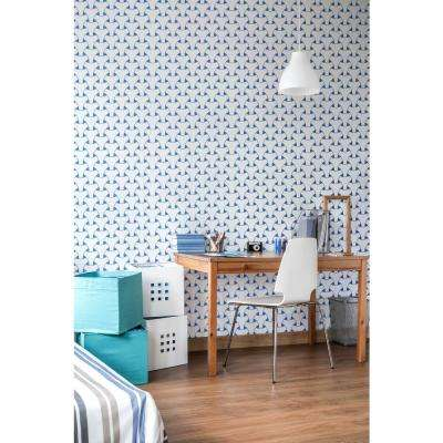 Art in Chaos Collection Island Weave in Royal Blue Removable and Repositionable Wallpaper