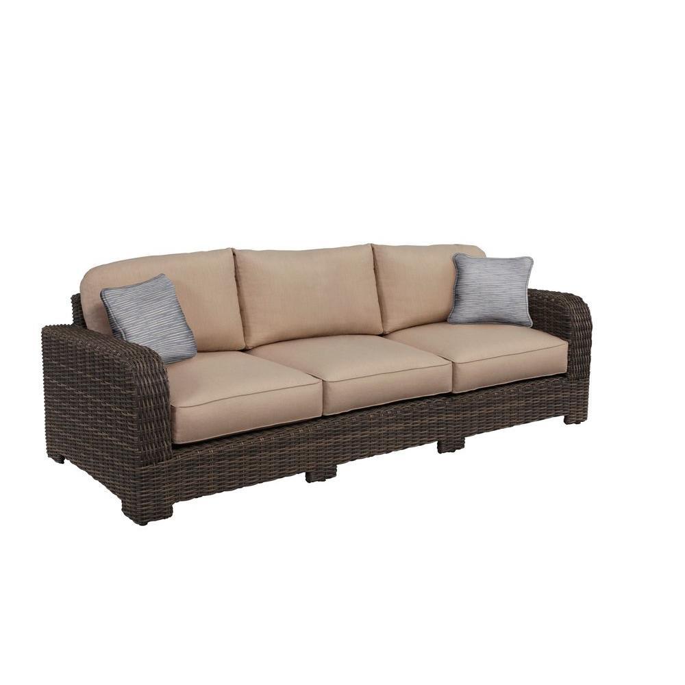 Brown Jordan Northshore Patio Sofa with Sparrow Cushions and Congo Throw Pillows -- CUSTOM