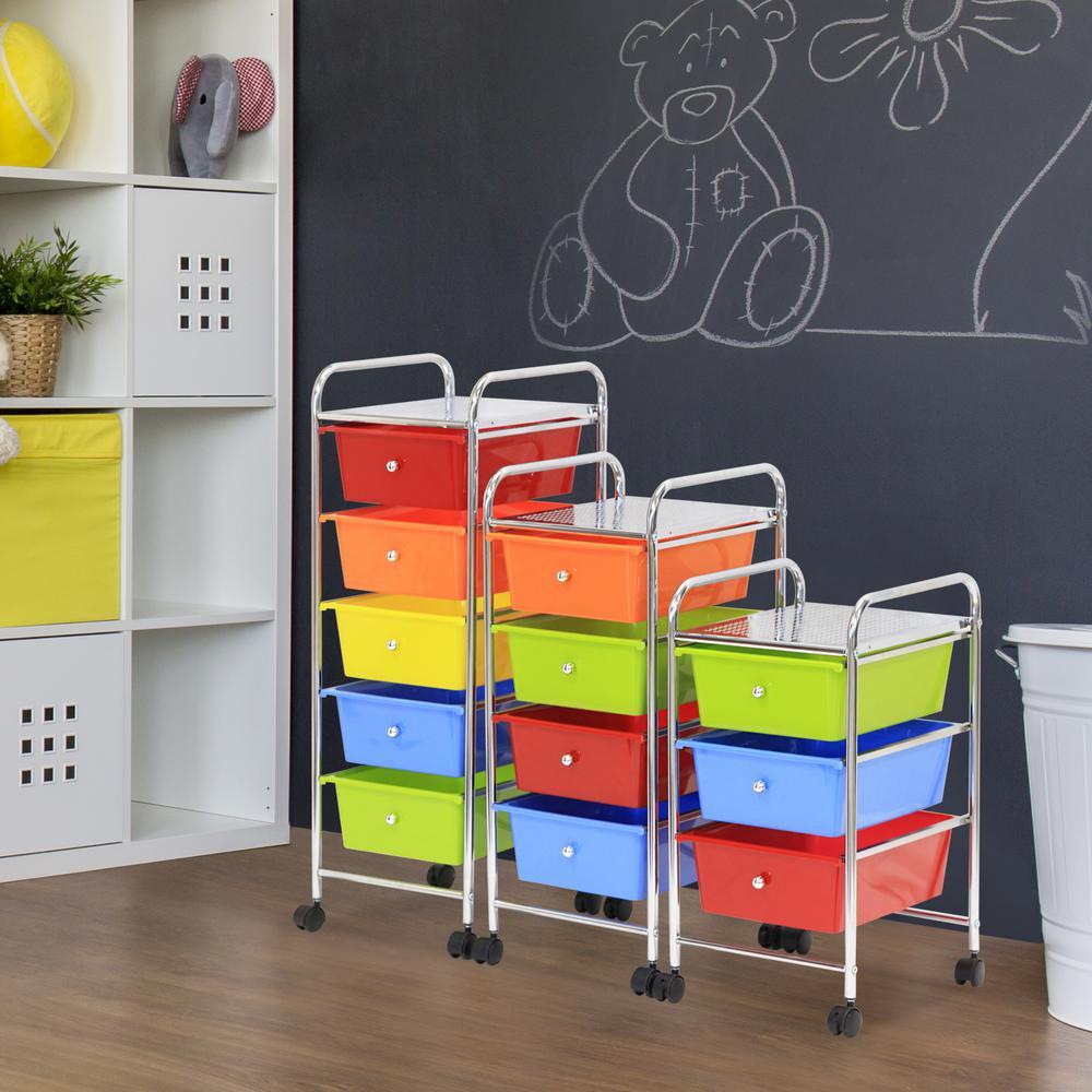 Wayar 4-Shelf Chrome 4-Wheeled 4-Drawer Trolley in Rainbow