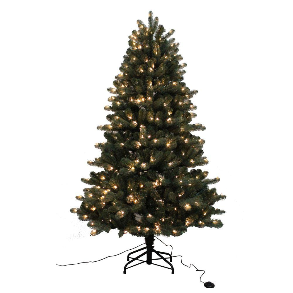 Home Accents Holiday 6.5 ft. Blue Spruce Elegant Twinkle Quick-Set ...