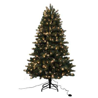 6.5 ft. Blue Spruce Elegant Twinkle Quick-Set Artificial Christmas Tree with 400 Clear and Sparkling LED Lights