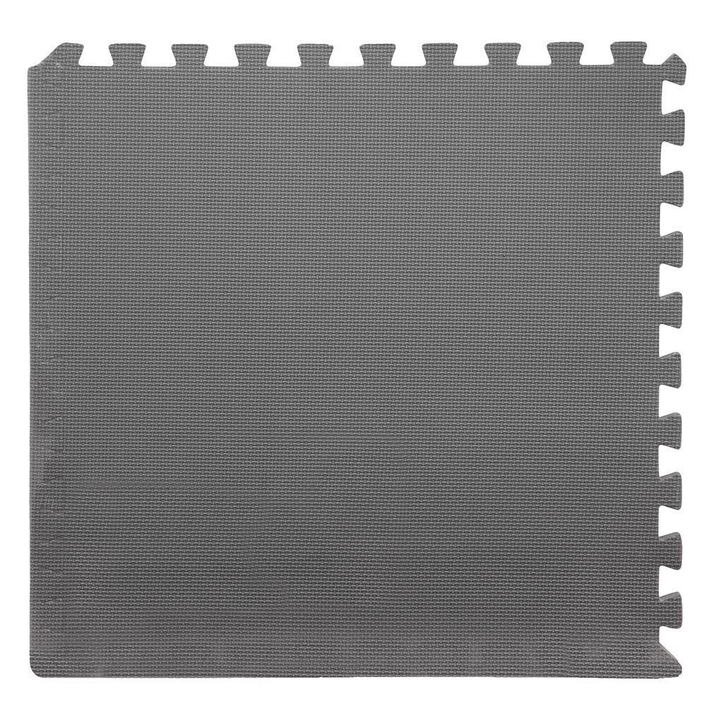 Grey 24 in. x 24 in. x 0.375 in. Interlocking EVA Foam Floor Tile (6-Pack)
