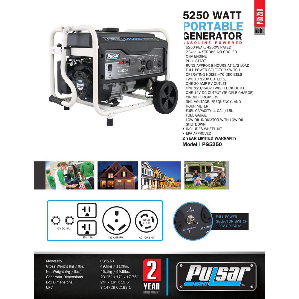 5,250/4,250-Watt Gasoline Powered Recoil Start Portable Generator with 224 cc Ducar Engine