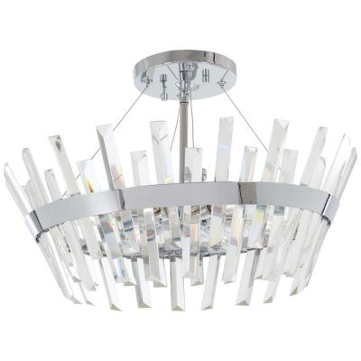 Echo Radiance 6-Light Chrome Semi-Flush Mount with Clear Glass