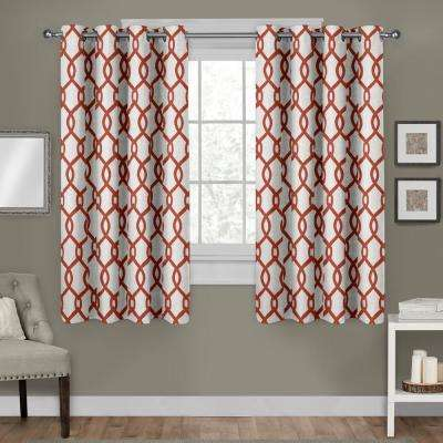Kochi Mecca Orange Linen Blend Grommet Top Window Curtain