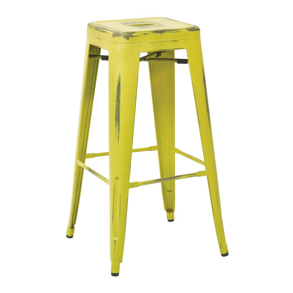 Work Smart Bristow 30 In Antique Lime Metal Barstool 4