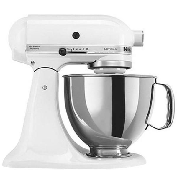 Artisan 5 Qt. 10-Speed White Stand Mixer with Flat Beater, 6-Wire Whip and Dough Hook Attachments