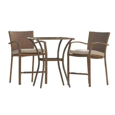 Lakewood Ranch 3-Piece High Top Wicker Outdoor Bistro Set with Brown Cushions