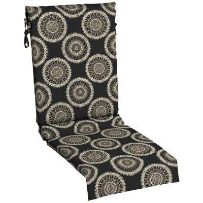 Black Geo Outdoor Dining Chair Cushion