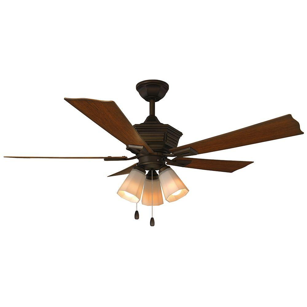 Pembroke 52 in. LED Indoor/Outdoor Oil-Rubbed Bronze Ceiling Fan with Light
