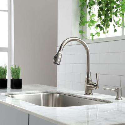 Single-Handle Stainless Steel High Arc Pull-Down Kitchen Faucet with Dual-Function Sprayer in Satin Nickel