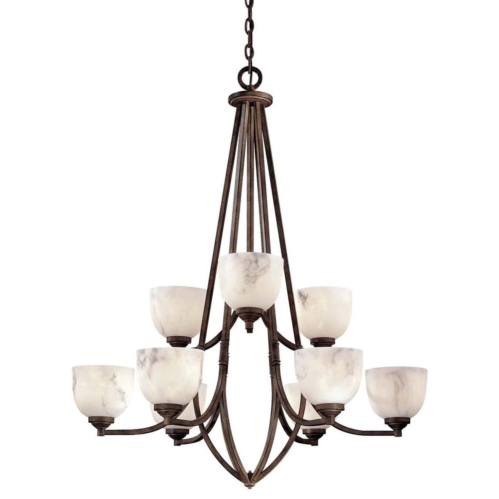 Minka Lavery 9-Light Nutmeg Chandelier-DISCONTINUED