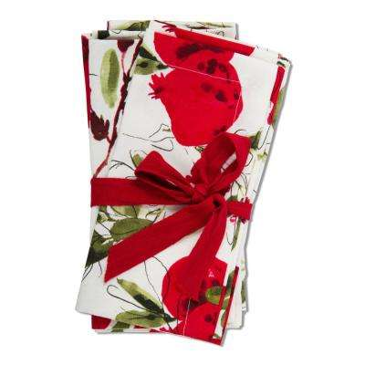 20 in. x 20 in. Red, Green and White Botanical Cotton Napkins (4-Pack)