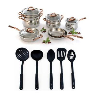 Ouro 17-Piece Stainless Steel Nonstick Cookware Set in Silver and Rose Gold