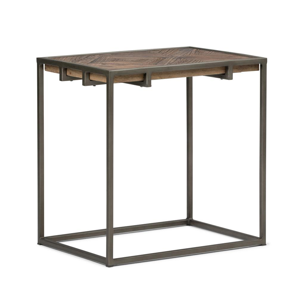 Simpli Home Avery Distressed Java Brown Wood Inlay Narrow End Side Table