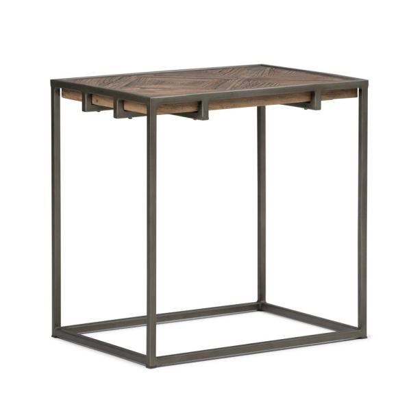 Simpli Home Avery Solid Aged Elm Wood and Metal 14 in.