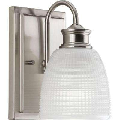 Lucky Collection 1-Light Brushed Nickel Bath Sconce with Double Prismatic Frosted Glass Shade