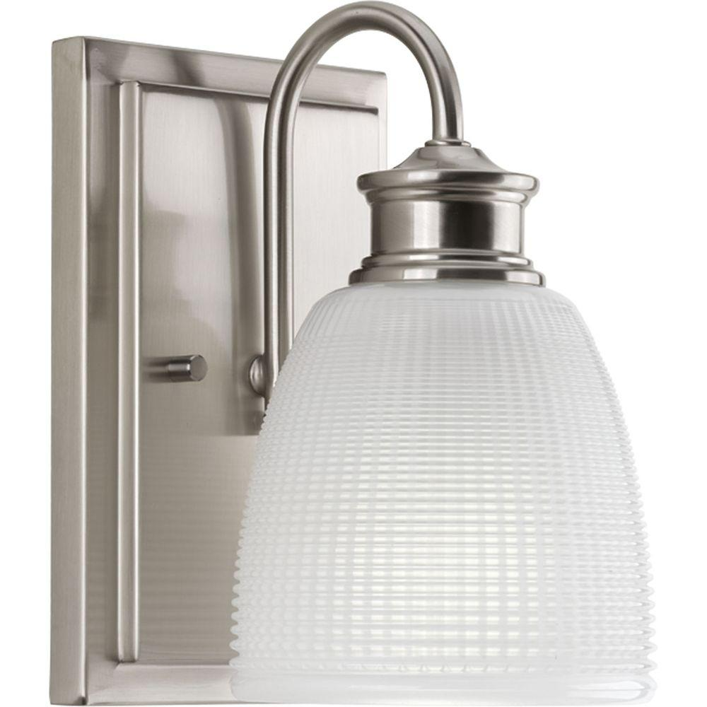 Progress Lighting Lucky Collection 1 Light Brushed Nickel Bath Sconce With  Double Prismatic Frosted Glass
