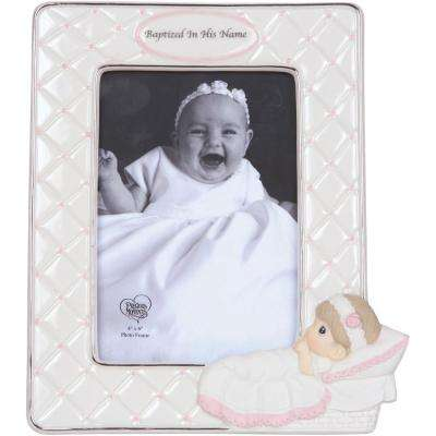 4 in. x 6 in. White & Pink Baptism Girl With Baby Gloss Porcelain Picture Frame