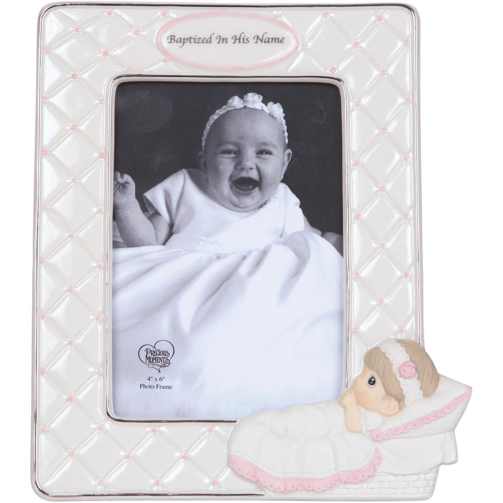 Precious Moments 4 in. x 6 in. White & Pink Baptism Girl With Baby ...
