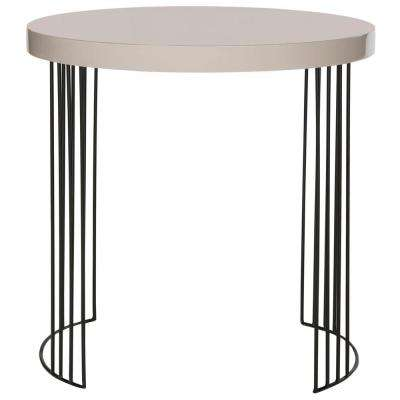 Kelly Taupe and Black Storage Side Table