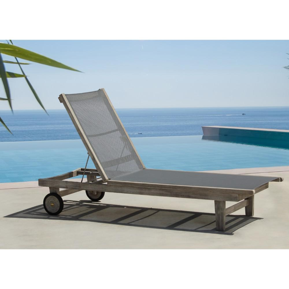 Courtyard Casual Deck Side Collection Teak Outdoor Sling Lounge