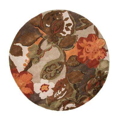 Hand-Tufted White Ice 6 ft. x 6 ft. Floral Round Area Rug