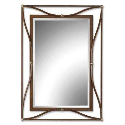 38 in. x 28 in. Bronze Metal Framed Mirror
